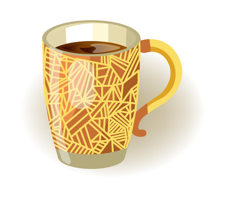 Deep mug with pattern of lines full of black tea