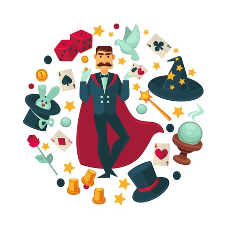 Magician in red cloak surrounded with equipment for tricks Vectores