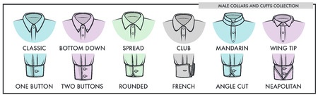 Male collars and cuffs of classic shirts collection vector illustration Stock Illustratie