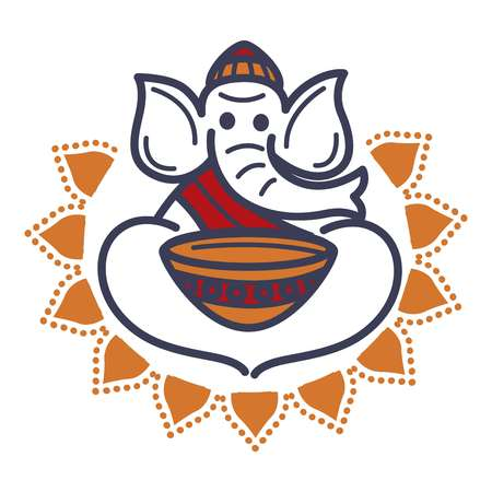 Elephant in monac hat and robe with empty bowl vector illustration