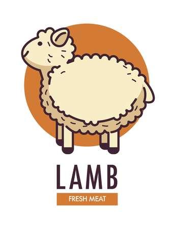 Lamb fresh meat promotional emblem with fluffy sheep Vector illustration. Illustration