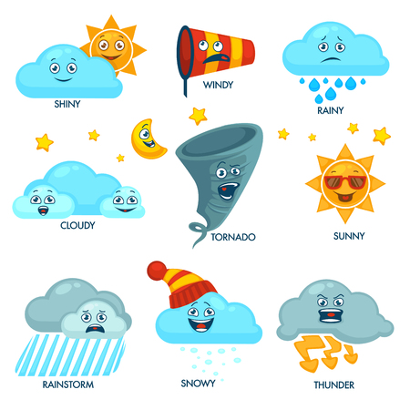 Weather forecast elements with faces and signs set Vector illustration.