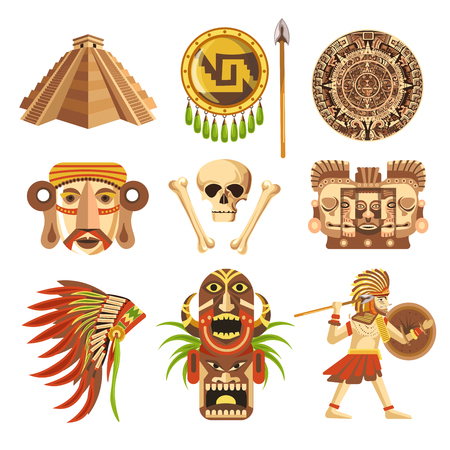 Maya traditional attributes and ancient priceless relics set