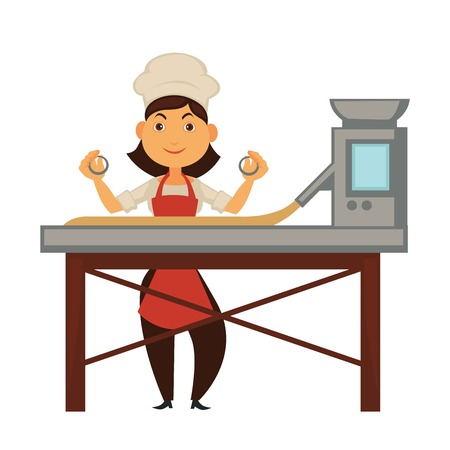 Female cook and big factory machine for dough handling Stock Illustratie