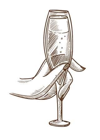 Elegant glass full of champagne in female hand