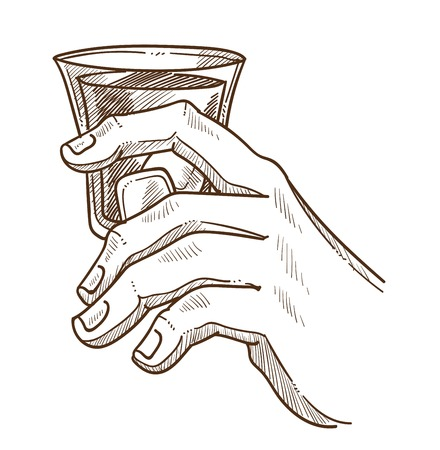 Male hand holds glass of whiskey with ice