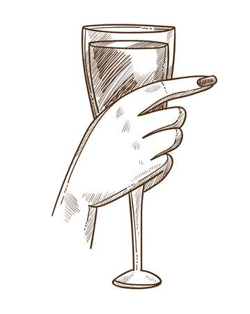Glass of exquisite wine in tender female hand Illustration