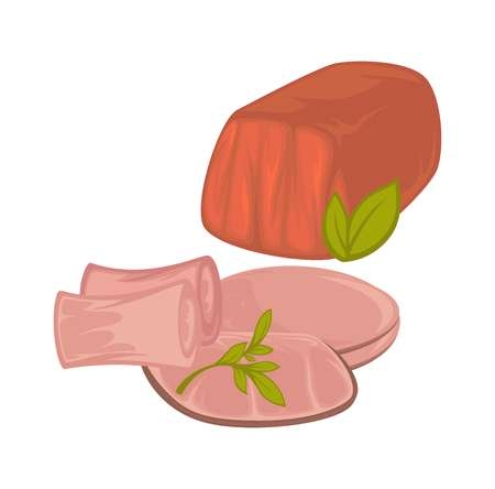 Delicious tender veal and ham slices with greenery Vectores