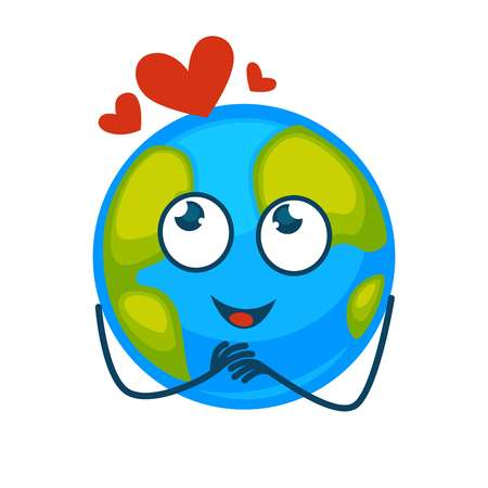 Earth planet with face and red hearts above