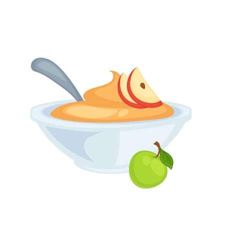 Sweet delicious applesauce in deep bowl with spoon 版權商用圖片 - 97930879