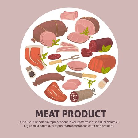 Organic delicious raw fresh meat product advertisement banner Illustration