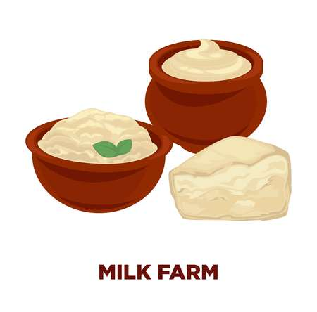 Milk farm advertisement banner with sour cream and cheese