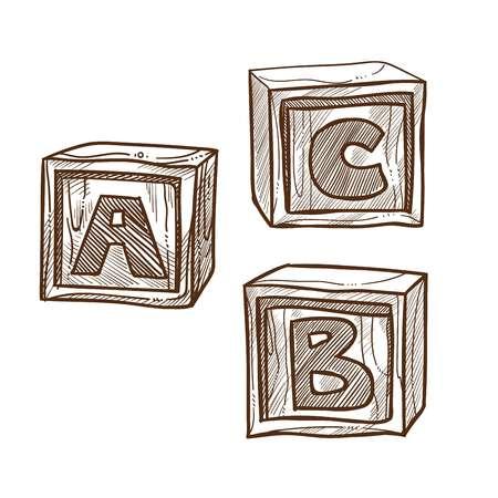 Retro wooden cubes with abc on side monochrome illustration Ilustração