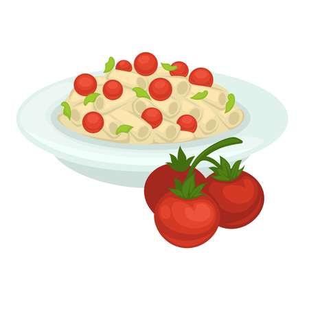 Delicious Italian pasta with whole cherry tomatoes on plate. Çizim