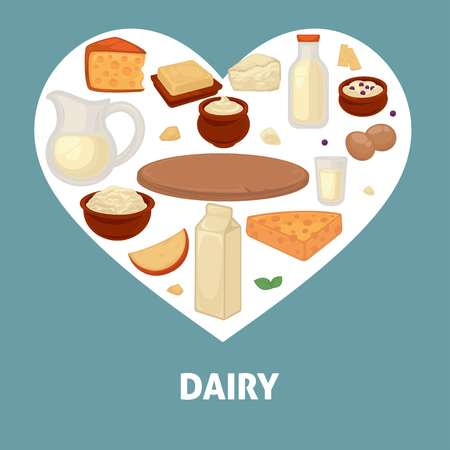 Delicious dairy products from the farm inside a heart for promotional poster. Illustration