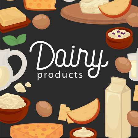 Delicious natural fresh healthy dairy products promotional poster. Ilustracja