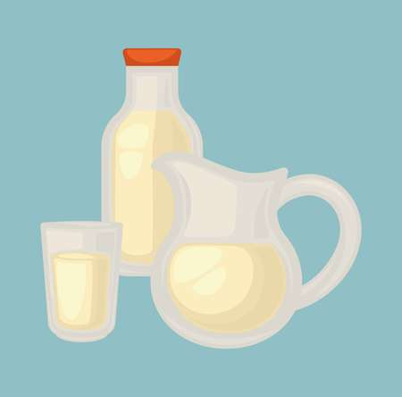 Delicious fresh milk in small glass, big jug and bottle with cover.