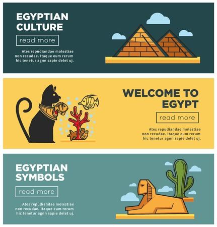 Welcome to Egypt promotional Internet posters templates set Vectores