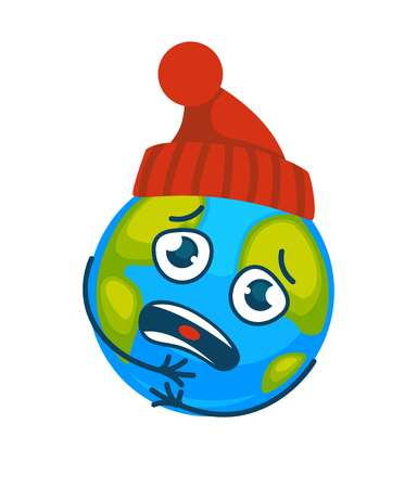 Earth in knitted hat suffer from coldness with sad face