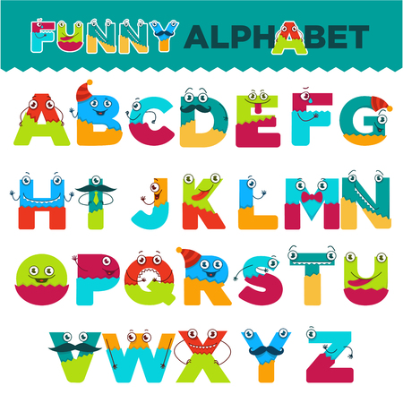 Funny alphabet of cartoon characters for kids design. Vector font letters of comic monster creature faces with eyes, mouth smile and mustaches in uppercase
