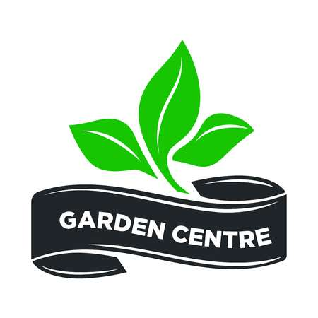 Garden center or gardening shop logo template of green leaf plant on ribbon. Vector isolated icon for gardener and agriculture store sign design 일러스트