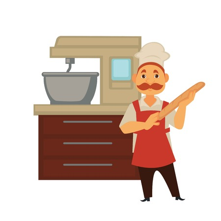 Baker man in bakery shop baking bread or kneading dough in mixer. Vector isolated profession people icon of baker at modern bakery work in hat with fresh baked baguette