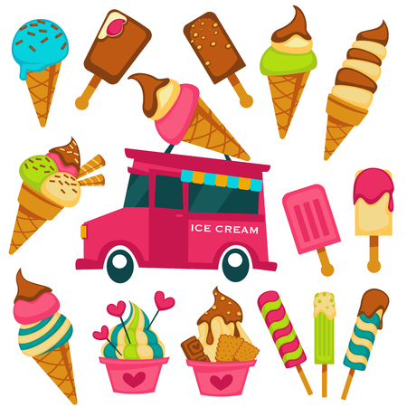 Ice cream scoops in wafer cones and sweets vendor van cart cartoon icons. Vector fruit and berry flavor ice cream gelato, chocolate sundae eskimo or sorbet with heart caramel glaze for gelateria cafe Vettoriali