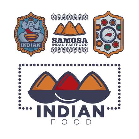 Indian food package or cafe and cuisine restaurant logo template. Vector isolated icons of elephant with plate of rice and curry spice with samosa for Indian tradiaonal fastfood bar design