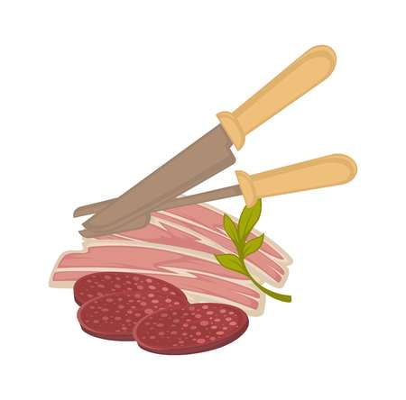 Bacon and sausage meat vector icon for butchery shop or gastronomy