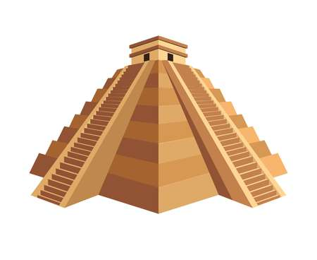 Ancient great Maya pyramid with small cubic temple on top and long stairs. Old building with huge historical value with large steps isolated cartoon flat vector illustration on white background.