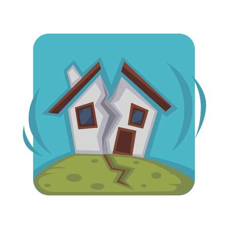 Small house on hill ruined in two pieces because of strong earthquake. Horrible consequence of natural disaster isolated cartoon flat vector illustration of square shape on white background.