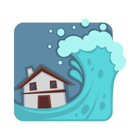 Strong tsunami that covers and destroys small house. Huge wave that ruins building. Natural disaster caused by oceanic waters isolated cartoon vector illustration of square shape on white background.
