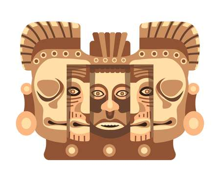 Totemic wooden sculpture of Mayan culture with faces Illustration