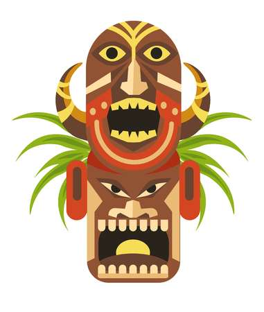 Ancient ritual mask with angry faces from Mayan culture