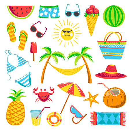 Summer travel or holiday vacation vector bright icons Illustration