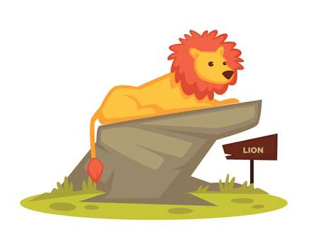 Lion zoo animal and wooden signboard vector cartoon icon for zoological park
