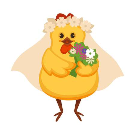 Chicken in vail with wreath of chamomile and bouquet illustration. 向量圖像