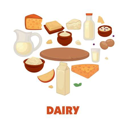 Dairy products on promotional poster in heart shape