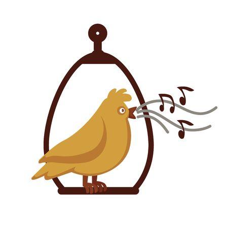 Canary bird singing on pole vector cartoon icon.