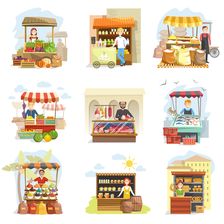 Street vendor booth and farm market food counters vector flat cartoon icons set Vettoriali