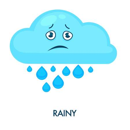 Rainy cloud with heavy drops and sad face 向量圖像