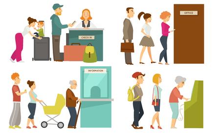 空港やチケットオフィスカウンターベクター漫画のアイコンをチェックインするキューラインの人々 写真素材 - 98680953