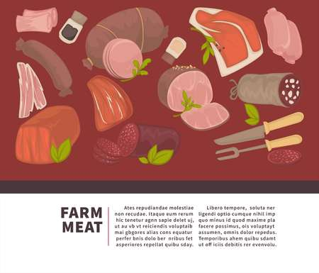 Farm meat and sausages products vector poster for butchery delicatessen shop or market. Vettoriali