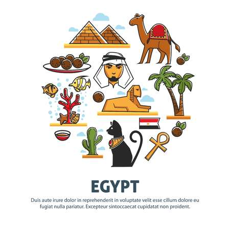 Egypt travel tourism poster of landmark symbols and famous culture attractions.