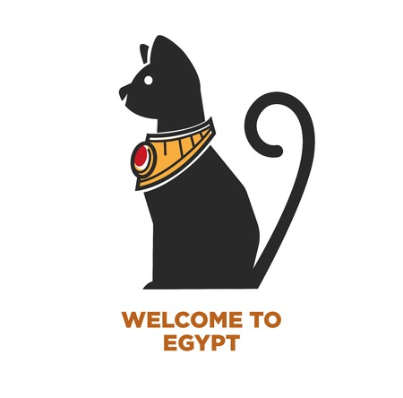 Welcome to Egypt poster of Egyptian cat icon for travel or tourist agency design template. Illustration