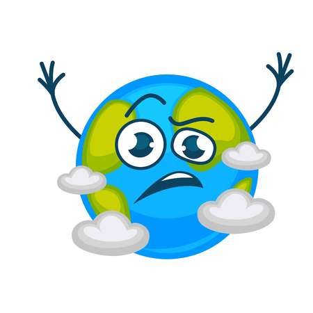 Earth planet cartoon character sad or angry in clouds.