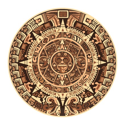 Maya calendar of Mayan or Aztec hieroglyph signs and symbols. Vector isolated round circle Maya calendar design