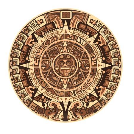 Maya calendar of Mayan or Aztec hieroglyph signs and symbols. Vector isolated round circle Maya calendar design