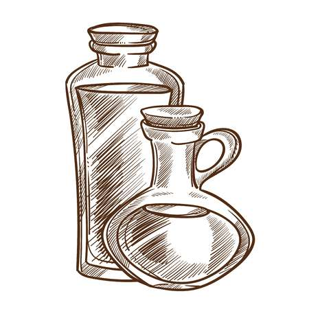 Healthy olive oil in small glass jugs with cork monochrome sketch. Delicious natural liquid seasoning for salads and ingredient for exquisite dishes isolated cartoon flat vector illustration. Illustration