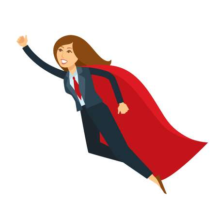 Superwoman or super woman office manager vector cartoon character icon. Isolated business woman in super hero costume cloak and office suit flying with raise hand to save world
